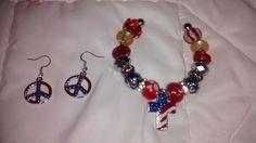 American Peace sign earrings and Patriotic bracelet.