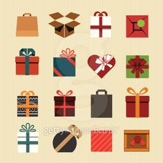 Color gift boxes icons collection