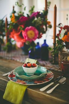Pretty mix of colors in this table setting