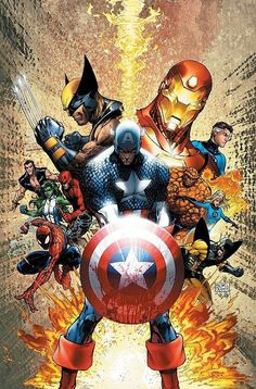 Marvel Superheroes. If I was a man id get this as a back tat!!!