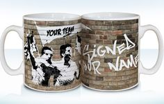 """Attention footie fans – vandalise this mug with Any Surname and Any Team! Love football? Love tea? Love graffiti? Combine your three """"loves"""" by insisting on this personalised mug. See your favourite Team Name featured within the flag being waved by the footballers on one side, then on the other, the words """"signed Any Surname"""" will appear in graffiti-style lettering on the wall. #fulham #fulhamfc #fulhamfcgifts #footballgifts #football #giftsforhim #giftsforteens #cottagers"""