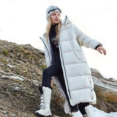 Cheap Parkas, Buy Quality Women's Clothing Directly from China Suppliers:Vero Moda 2019 New Hooded Oversize White Duck Down Long Down Jacket Denim Overalls, Jeans, Fur Casual, New York Girls, Duck Down Jacket, Long Jackets, Women's Jackets, Puffer Jackets, White Ducks
