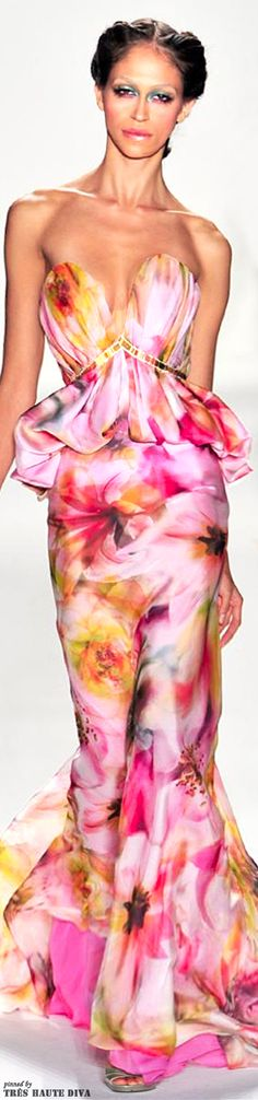 Venexiana Spring/Summer 2014 love the watercolour appearance, the droopy front bit, not so much - should be up higher