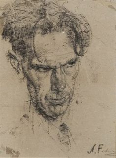 Nicolai Fechin, Head of a Poet - The Artist's Best Friend Life Drawing, Figure Drawing, Drawing Sketches, Painting & Drawing, L'art Du Portrait, Portrait Sketches, Portraits, Dancing Drawings, Cool Drawings