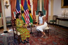 First Lady Michelle Obama meets with Ernestina Mills, First Lady of Ghana, at the State Department in Washington, D.C., March 8, 2012. (Official White House Photo by Sonya N. Hebert)