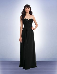 c6cf5a0ef08 1145 Long Strapless Lace Chiffon Bridesmaids Dress with sweetheart  neckline. Pictured here in black.