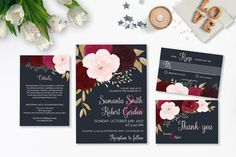 Navy Burgundy Wedding Invitation Suite Printable Marsala Pink Autumn Wedding Invite Set Bohemian Fall Floral Digital Rustic Invite - WI033
