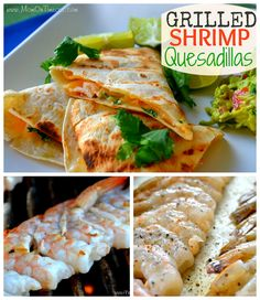 Grilled Shrimp Quesadillas recipe that is going to having you going back for me! Pork Rib Recipes, Grilling Recipes, Seafood Recipes, Appetizer Recipes, Mexican Food Recipes, Cooking Recipes, Appetizers, Grilling Ideas, Quesadillas