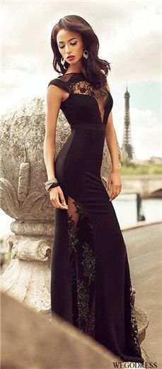 black prom dress, if this was strapless in a blush colour, i love the idea of a slit connected with a lace = classier + easier when sitting down