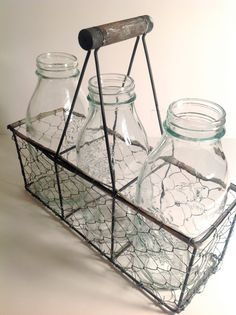 Adorable French Country Shabby Chic Milk Bottles with Flowers in Chicken Wire Basket Carrier - Flower Vase