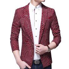 2015 nieuwe collectie mode ontwerp gestreepte mannen pak herfst merk mens enkele knop slim fit witte smoking jasje mannen blazer(China (Mainland))
