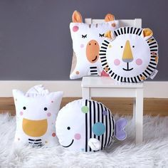 New collection of adorable, plush baby cushions. Featuring the brave lion, curious giraffe, friendly duck and adventurous fish these mini pillows make a wonderful new baby gift and will look great in a modern nursery. Baby Pillows, Kids Pillows, Throw Pillows, Bolster Pillow, Neck Pillow, Felt Crafts, Diy And Crafts, New Baby Presents, Animal Cushions