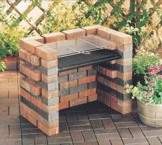 Grill and Charcoal Tray for Brick BBQ