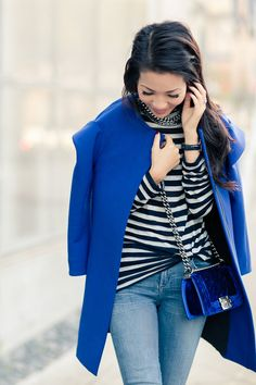 Something Blue :: Structured silhouette & Navy stripes : Wendy's Lookbook