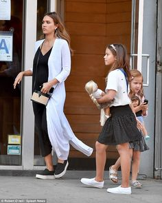 The pregnant 36-year-old was spotted heading for lunch with daughters Haven, five, and nine-year-old Honor, in New York City