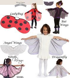 Adorable Wings Child Cape is cute for costume, dress up or dramatic play. Flowing organza fabric with elastic wrist straps & velcro neck. Makes an lovely Big Sister Gift. 100% Polyester Woven by Ganz. Choose Ladybug, Dragonfly, Angel Wings or Bat Wings. $11.99 at http://www.mommygear.com/ganz-ladybug-wings-costume-cape.htm