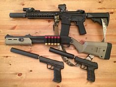 Gun control is keeping your finger off the trigger :  Colt lower/KAC upper SBR, Remington 870 SBS, and suppressed Heckler & Koch pistols
