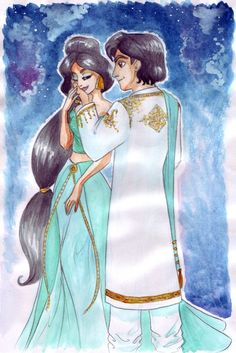 Such a sweet expression on Jasmine's face!  And I love Aladdin's jacket <3