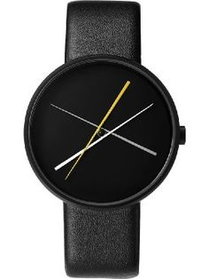 Projects Unisex Crossover 40mm Leather Band Watch (Black) ❤ Projects