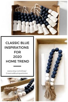 Cute Crafts, Crafts To Do, Bead Crafts, Crafts For Kids, Diy Crafts, Wood Bead Garland, Beaded Garland, Beaded Ornaments, Dark Navy