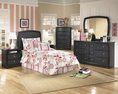 YOUTH #BEDROOMS-- Enchanted  B119  Price includes 4 piece Twin Bedroom Group Headboard, Dresser, Mirror & Nightstand Other pieces available. http://bit.ly/1FJ6IfW