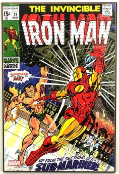 Marvel IRON MAN #25 Sub-Mariner Retro Wood Comic Cover Plaque Wall Art #weboys10
