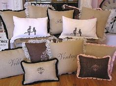 It's because of these burlap pillows that I have now made a Board pertaining to only Burlap creations!