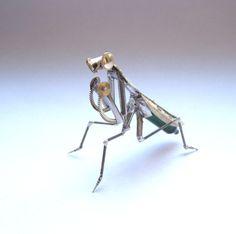 Praying Mantis #28 by Justin Gershenson. Beautiful watch parts mantis sculpture.