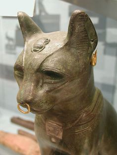 """The so called """"Gayer Anderson"""" cat. A late period bronze cat in the form  of the goddess Bastet. Jewelry is ancient but not necessarily original  to this piece."""