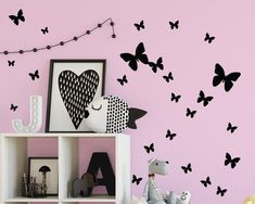 """Girls Bedroom Ideas Black Butterfly Wall Decals ~Have a blast decorating any roomwith easy stick solid colored butterfly wall stickers. (26) Black Butterfly wall decals on (2) 11"""" quality vinyl sheet. Life-like looking butterflies to match with all of our vibrant colors ** mint green  white make for a great combo with our black butterflies. 2""""-10"""" size range - Easy peel  Stick backing and removes with ease for easy decorating. Great for girls room walls-"""