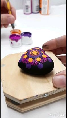 Head on over to my Etsy for the guideboom featuring this video! Stone Art Painting, Dot Art Painting, Mandala Painting, Rock Painting Patterns, Rock Painting Designs, Paint Designs, Stone Crafts, Rock Crafts, Mandala Dots