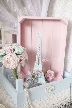 Shabby Blue and Pink Wooden Boxes. More