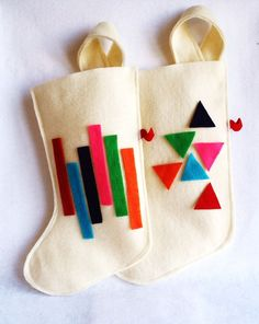 OOAK geometric eco friendly Christmas stocking in brilliant triangles or rectangles - neon LIMITED EDITION from rikrak @ etsy
