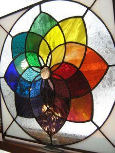 COLOR WHEEL Suncatcher-stained glas window panel-Pinwheel rainbow