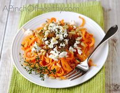 Spiralizer sweet potato with goat cheese, caramelized onion and pine nuts makes a killer side dish or vegetarian main dish that will knock your socks off. Vegetarian Main Dishes, Vegetarian Recipes, Cooking Recipes, Healthy Recipes, Free Recipes, Vegetable Dishes, Sweet Potato Noodles, Veggie Noodles, Clean Eating