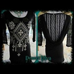Lace Sleeve Drape Aztec Tribal Rhinestone Bling Design Ladies Top Size Small