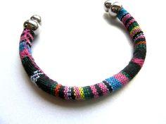 Ethnic Fabric Bracelet  Woven Cord Bracelet  Tribal Bracelet