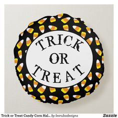 Trick or Treat Candy Corn Halloween Round Pillow Halloween Trick Or Treat, Halloween Candy, Halloween Pillows, Round Pillow, Candy Corn, Decorative Throw Pillows, Cake, Desserts, Trick Or Treat
