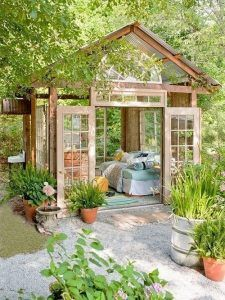 Wonderfully Inspiring She Shed Ideas For Your Backyard Getaway Get away from it all without ever having to leave your backyard garden by designing a she shed, one of the greatest trends for the season. Backyard Patio, Backyard Landscaping, Landscaping Design, Backyard Studio, Backyard Ideas, Backyard Retreat, Pergola Ideas, Patio Ideas, Pergola Kits
