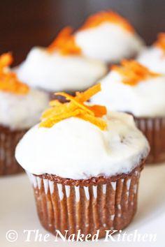 Carrot Cake Cupcakes with Honey Yogurt Frosting