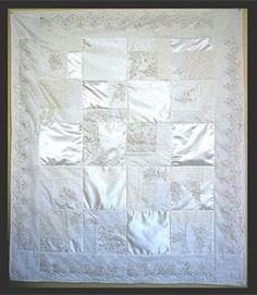Bear Turn your wedding dress into a beautiful handmade quilt! Your dress will be pieced with parts of your dress, veil and/or train to create a keepsake quilt that can be cherished for years to come. Don't leave your dress in a box- display it in a quilt! Wedding Dress Quilt, Old Wedding Dresses, Wedding Dress Crafts, How To Dress For A Wedding, Custom Wedding Dress, Wedding Fabric, Wedding Dress Display, Wedding Gowns, Wedding Quilts