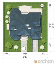 gotowy projekt Rezydencja w Myślenicach 2(P) sytuacja Bungalow Floor Plans, Picnic Blanket, Outdoor Blanket, Unique House Design, Home Design Plans, Grey's Anatomy, House Plans, How To Plan, Cake