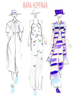 A Mara Hoffman fashion illustration by Chanelle Siddle, found in The Royal Obsession Magazine Issue #3