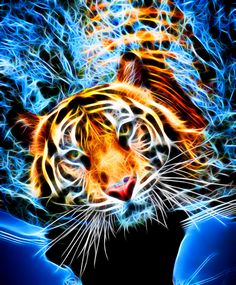 Tiger in Water Fractal - Akvis Neon Beautiful Cats, Animals Beautiful, Tiger In Water, Comic Cat, Tiger Artwork, Tiger Pictures, Tiger Wallpaper, Tiger Love, Cute Tigers