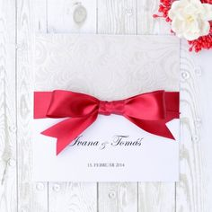 Red Bow handmade wedding invitation