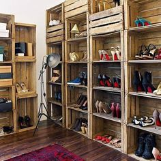 Knack of Girl: Dustbins reused for organizing shoes