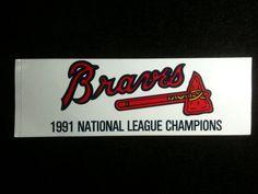 27ae1df1925 Vintage 1991 NL Champs Atlanta Braves Decal Sticker