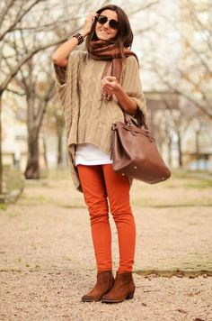 Colored Denim and Oversized Knits.