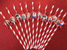 Set of 12 Red Star American Girl Straws. www.RockinPartyTreats.Etsy.com