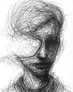 portrait art Scribbled Portraits of Brooding Figures by Adam Riches Dark Art Drawings, Art Drawings Sketches, Contour Drawings, Creepy Drawings, Creepy Sketches, Charcoal Drawings, Drawing Faces, Arte Horror, Horror Art